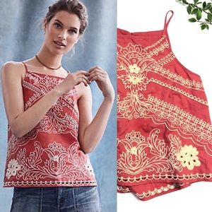 Anthropologie Terracotta Swing Embroidered Tank